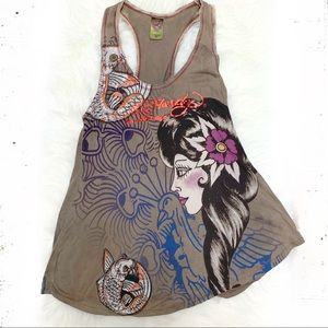 Ed Hardy embellished koi fish tank top